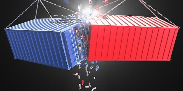 Rood en blauw metalen dozen crashen Premium Foto