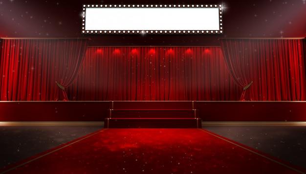 Rood gordijn en een spot. festivalnachtshowaffiche Premium Foto