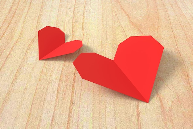 Rood hartdocument op houten achtergrond. 3d-weergave Premium Foto