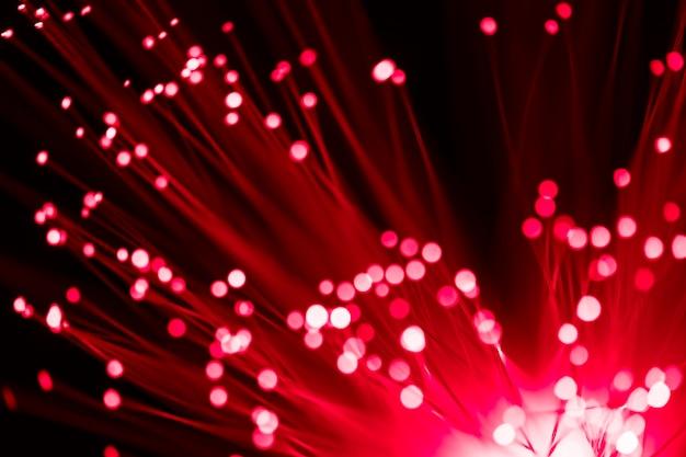 Rood licht van optische glasvezel Premium Foto