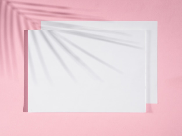 Rose achtergrond met witte dekens en een ficus schaduw Gratis Foto