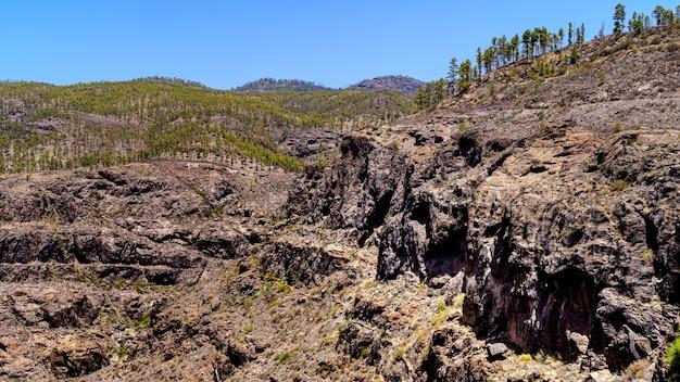 Rotsachtig landschap in de bergen van het eiland gran canaria. spanje, europa, Premium Foto