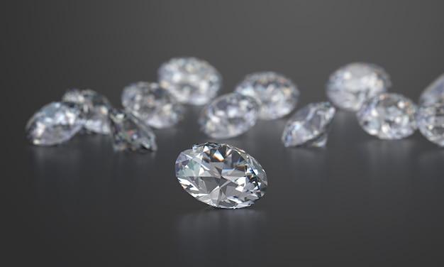Round diamonds-groep op donkere glanzende achtergrond, het 3d teruggeven, zachte nadruk wordt geplaatst die. Premium Foto