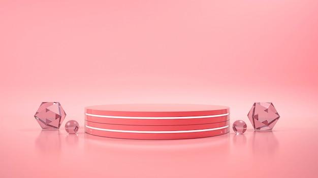 Roze achtergrond met geometrische vorm podium Premium Foto