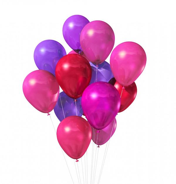Roze ballonnen groep geïsoleerd Premium Foto