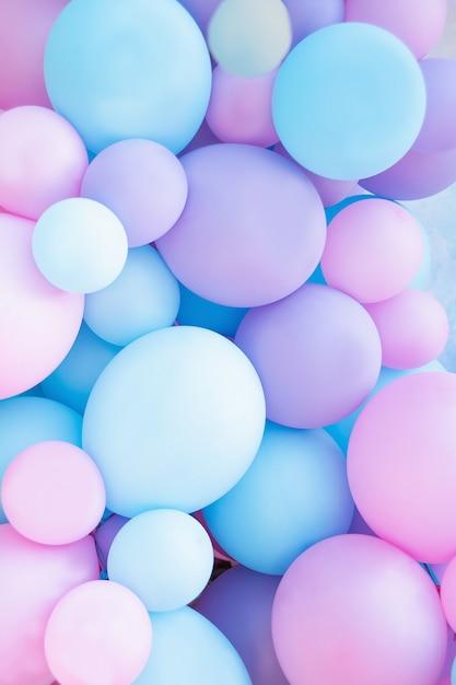 Roze en mint ballonnen fotowand verjaardag decoratie Premium Foto