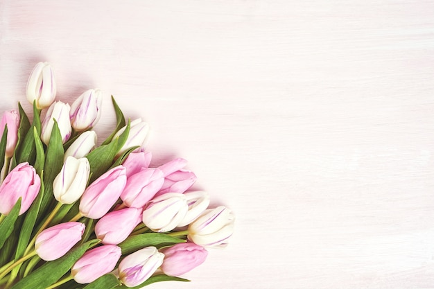 Roze en witte tulpen in vaas. Premium Foto