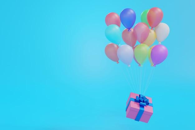 Roze geschenkdoos drijvend door ballonnen op blauwe pastel achtergrond, 3d-rendering. Premium Foto