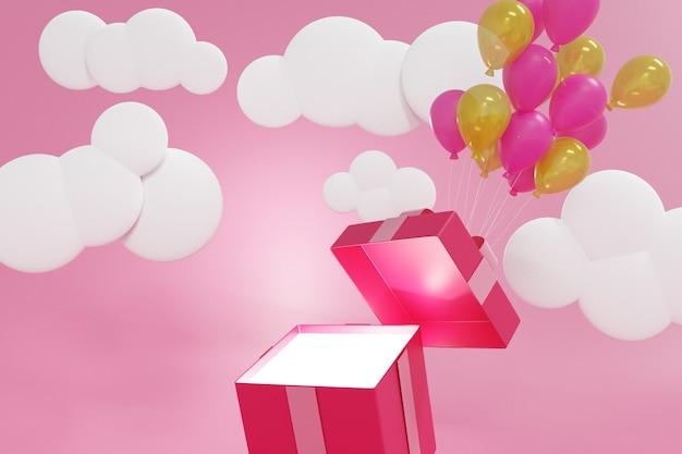 Roze geschenkdoos drijvend door ballonnen op roze pastel achtergrond, 3d-rendering. Premium Foto