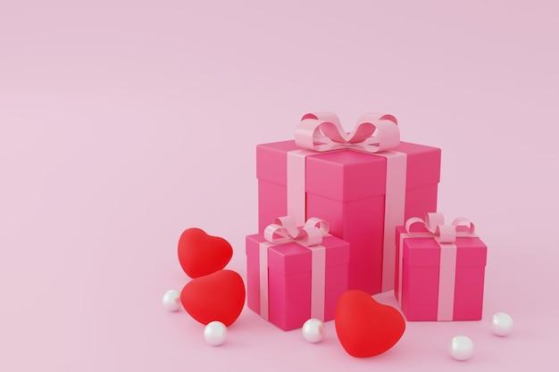 Roze geschenkdoos of huidige doos op roze achtergrond, valentijn concept. 3d-rendering. Premium Foto
