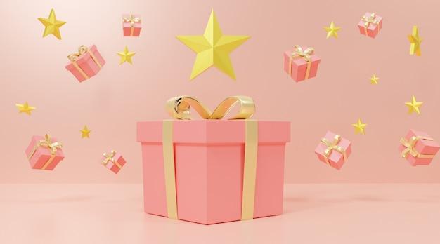 Roze geschenkdozen en sterren Premium Foto