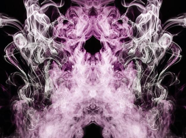 Roze golvende rook op zwarte achtergrond Gratis Foto
