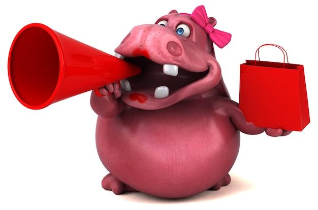 Roze hippo - 3d illustratie Premium Foto