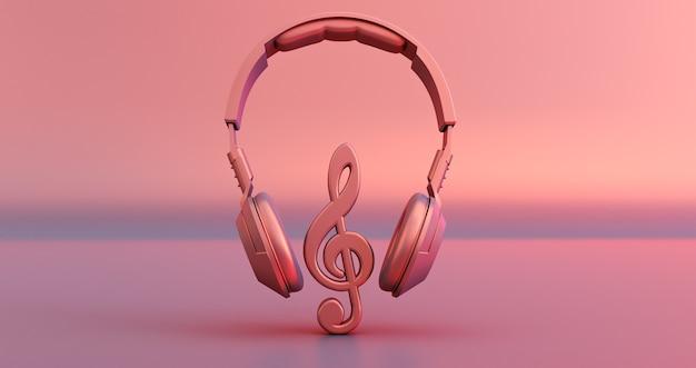 Roze hoofdtelefoon en muzieknota over roze achtergrond. 3d render Premium Foto