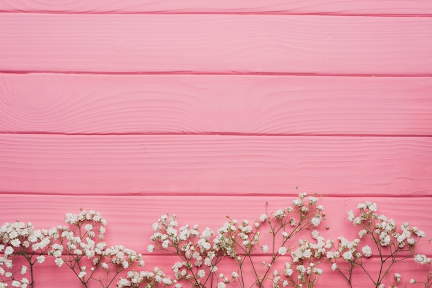 Roze houten oppervlak met decoratieve takjes Gratis Foto
