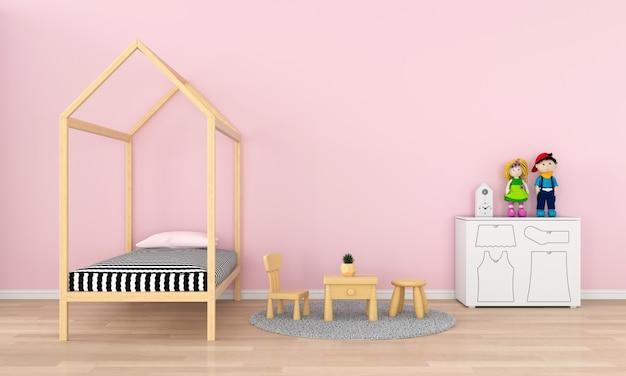 Roze kinderkamer interieur voor mockup Premium Foto