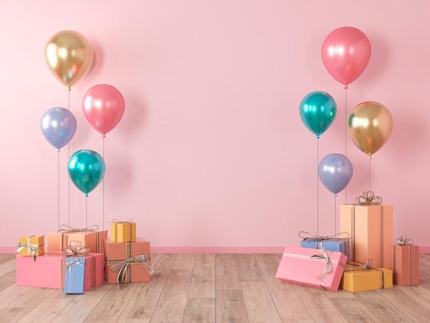 Roze lege muur, kleurrijk interieur met geschenken, cadeautjes, ballonnen voor feest, verjaardag, evenementen. 3d render illustratie, mockup. Premium Foto