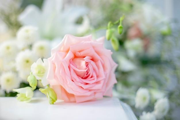 Roze nam bij huwelijksceremonie toe op onduidelijk beeldachtergrond. ondiepe diepte van het veld. Premium Foto
