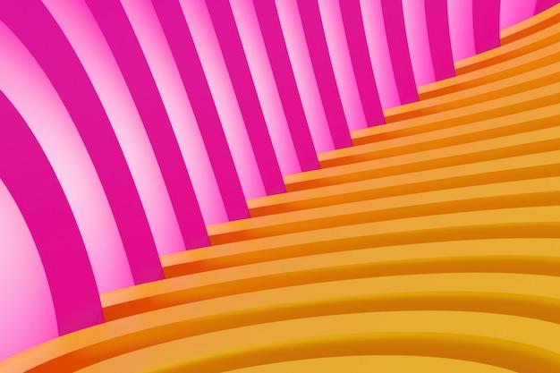Roze-oranje hoek gemaakt van geometrische eenvoudige lijnen. helder creatief symmetrisch patroon, textuur. herhaalbare minimalistische wall.3d-weergave. Premium Foto