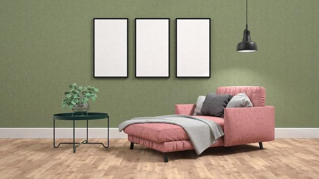 Roze slaapbank en een koffietafel in de woonkamer met posters op de ...