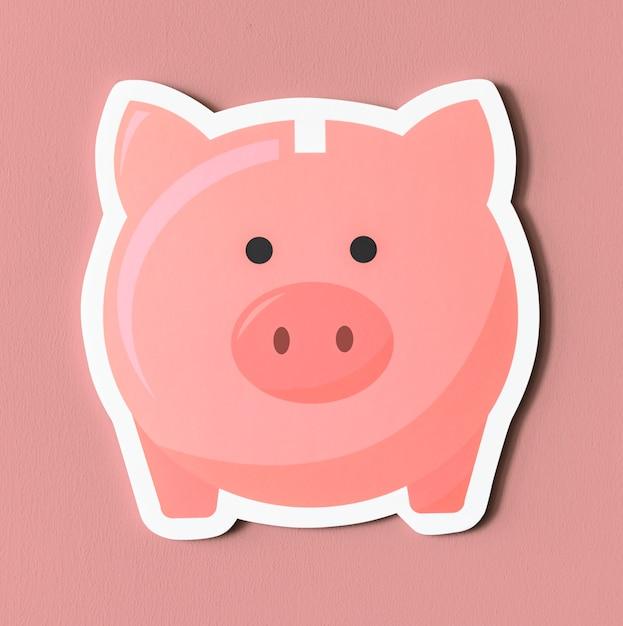 Roze spaarvarken pictogram Gratis Foto