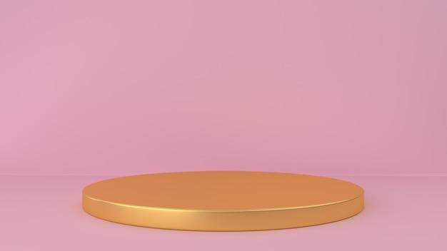 Roze studio en voetstukachtergrond. platform voor weergave van schoonheidsproducten. Premium Foto