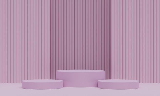 Roze voetstuk voor weergave. lege productstandaard met geometrische vorm. 3d render. Premium Foto