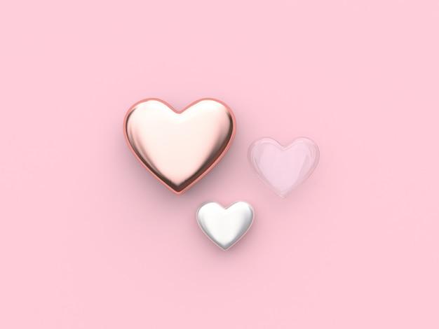 Roze witte duidelijk hart valentijn 3d-rendering Premium Foto