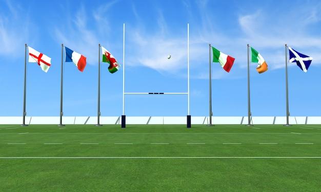 Rugbyveld met de vlaggen van de teams in het toernooi van de zes landen Premium Foto