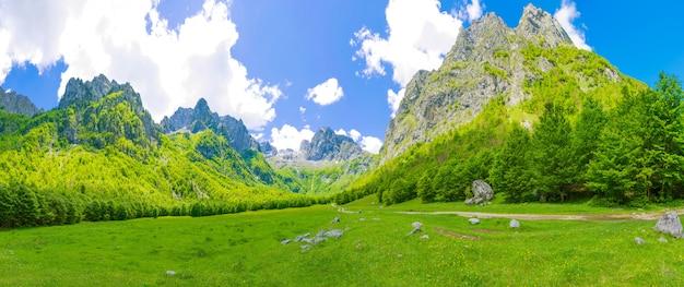 Ruime schilderachtige weiden tussen de enorme bergen. Premium Foto