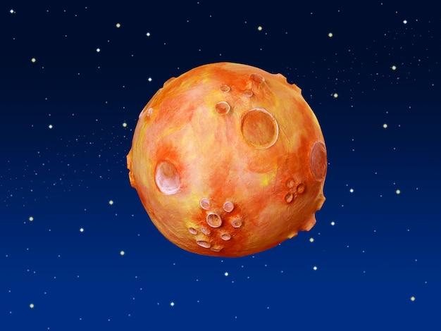 Ruimte fantasie planeet oranje blauwe hemel Premium Foto