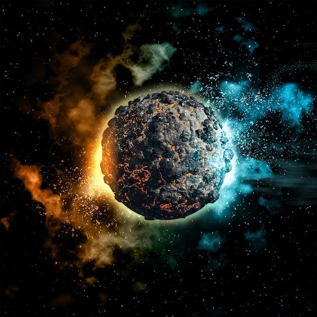 Ruimteachtergrond met vulkanische planeet Gratis Foto