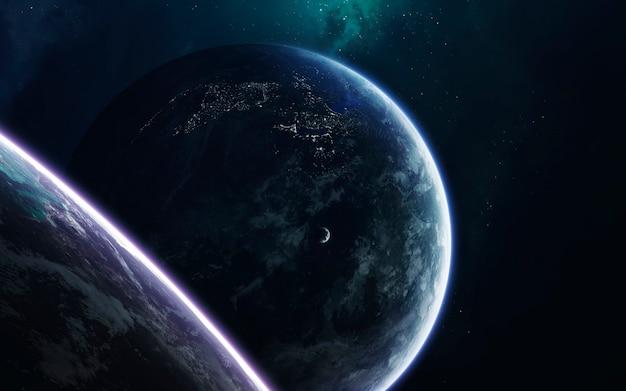Ruimtekunst, ongelooflijk mooie sciencefiction eindeloos universum Premium Foto