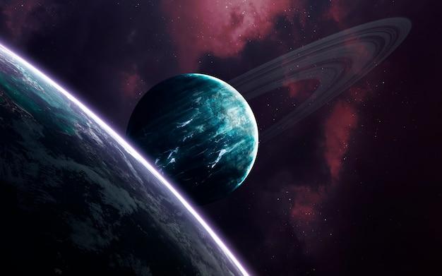 Ruimtekunst, ongelooflijk mooie sciencefiction Premium Foto