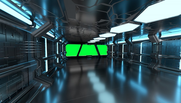 Ruimteschip blauw binnenland met het lege venster 3d teruggeven Premium Foto