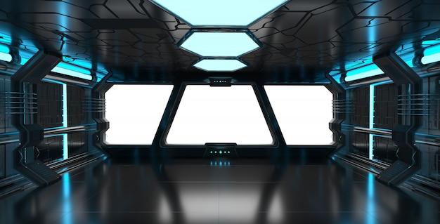 Ruimteschip blauw interieur met leeg venster 3d-rendering elementen van deze afbeelding geleverd door nasa Premium Foto