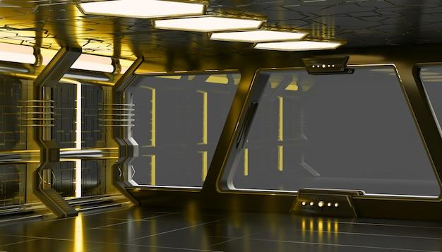 Ruimteschip geel interieur Premium Foto