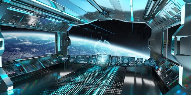 Ruimteschipbinnenland met mening over het 3d teruggeven van de aarde Premium Foto