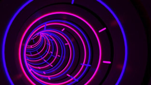 Running in neon light circle tunnel behang in retro en fashion party scene. Premium Foto