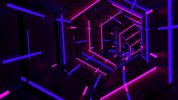 Running in neon light zeshoekige tunnel Premium Foto