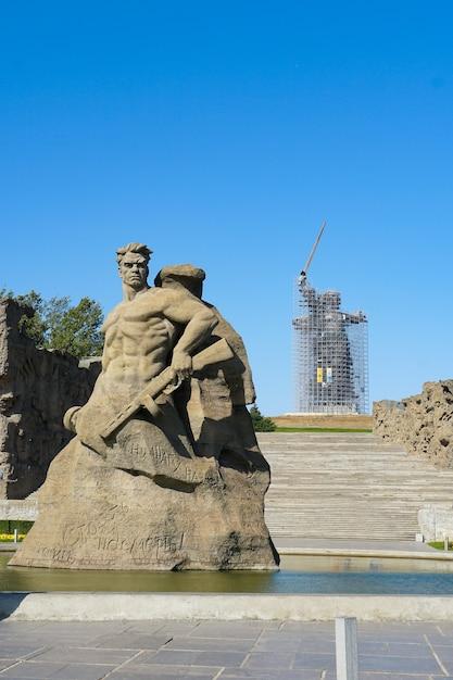 Rusland, volgograd. historisch en herdenkingscomplex het monument, stand to death genoemd Premium Foto