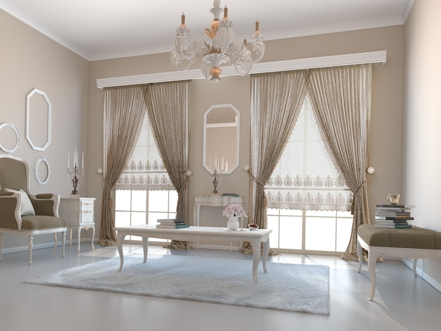 Salon met decoratie Premium Foto