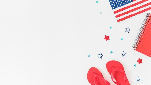 Samenstelling in kleuren van de amerikaanse vlag Gratis Foto