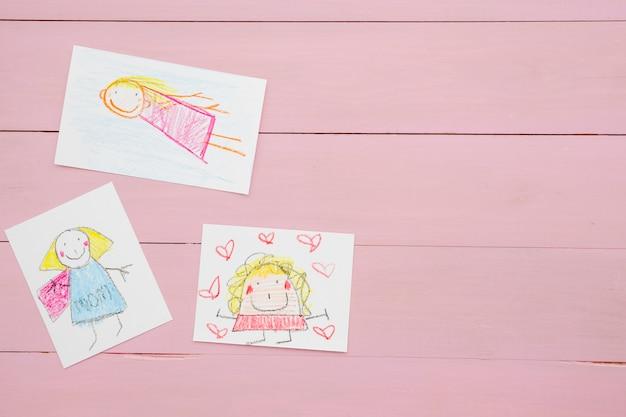 Samenstelling Met Kinderen Tekenen Voor Moederdag Foto Gratis Download