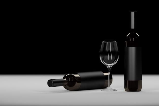 Samenstelling met twee donkere glazen wijnfles en wijnglas op zwart Premium Foto