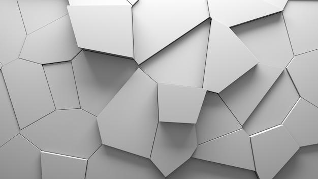 Samenvatting geëxtrudeerde voronoi blokken achtergrond. minimale lichte, schone bedrijfsmuur. 3d geometrische oppervlakteillustratie. verplaatsing van veelhoekige elementen. Gratis Foto