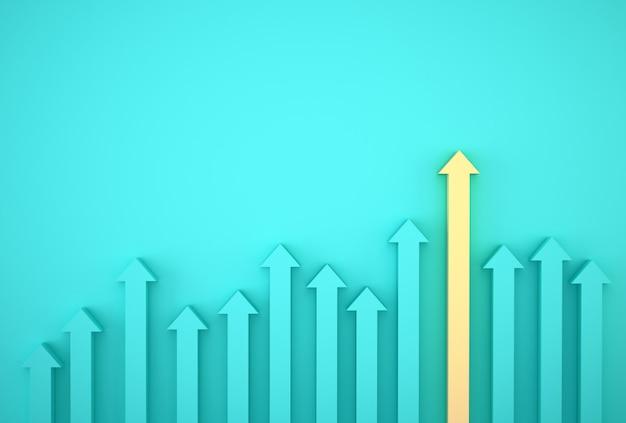 Samenvatting van gele pijlgrafiek op blauwe achtergrond, toekomstig groeiplan. bedrijfsontwikkeling tot succes en groeiend groeiconcept. Premium Foto