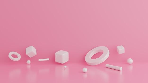 Samenvatting van geometrische vormen. minimale roze muurscène. Premium Foto