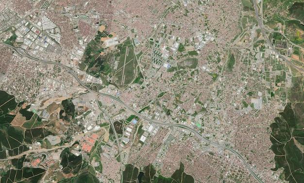 Satelliet bovenaanzicht textuur over istanbul Premium Foto
