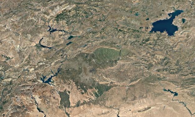 Satelliet bovenaanzicht textuur over van lake Premium Foto